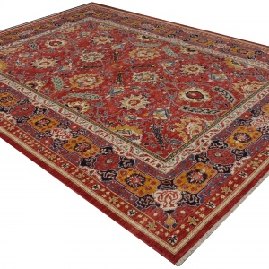 Rug# 26325, AfghanTurkaman weave, 19th c Sultanabad Mahal inspired, Veg dyes, Size 371x255 cm, RRP $12000 (5)