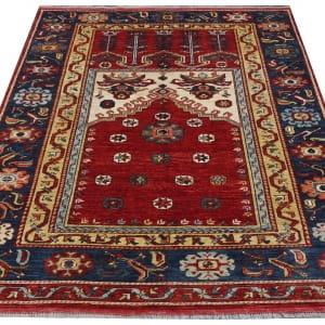 Rug# 26329, AfghanTurkaman weave,17th c Oushak prayer inspired, Veg dyes, Size197x153cm, RRP $4000 (2)