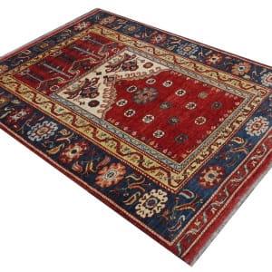 Rug# 26329, AfghanTurkaman weave,17th c Oushak prayer inspired, Veg dyes, Size197x153cm, RRP $4000 (3)