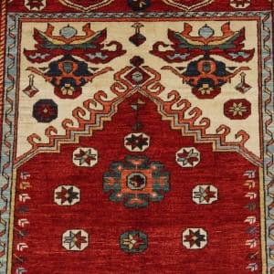 Rug# 26329, AfghanTurkaman weave,17th c Oushak prayer inspired, Veg dyes, Size197x153cm, RRP $4000 (4)