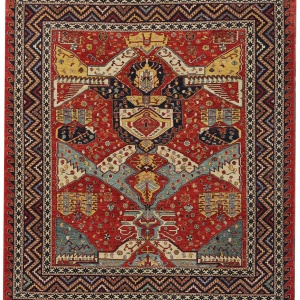 Rug# 26331, AfghanTurkaman weave,19th c Caucasian inspired, handspun wool, Veg dyes, Size 293x245 cm, RRP $8000 (2)