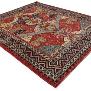 Rug# 26331, AfghanTurkaman weave,19th c Caucasian inspired, handspun wool, Veg dyes, Size 293x245 cm, RRP $8000 (3)
