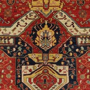 Rug# 26331, AfghanTurkaman weave,19th c Caucasian inspired, handspun wool, Veg dyes, Size 293x245 cm, RRP $8000 (4)