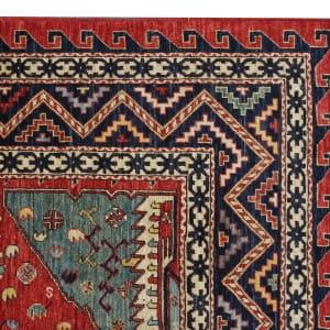 Rug# 26331, AfghanTurkaman weave,19th c Caucasian inspired, handspun wool, Veg dyes, Size 293x245 cm, RRP $8000 (5)