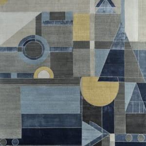 Rug# 31183, Jaipur modern, ABC designer rug, 100% NZ wool and bamboo silk pile, size 300x250 cm ESK-315Antique WhiteMedieval Blue (1)