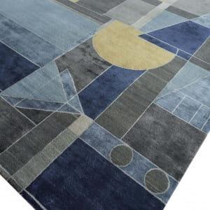 Rug# 31183, Jaipur modern, ABC designer rug, 100% NZ wool and bamboo silk pile, size 300x250 cm ESK-315Antique WhiteMedieval Blue (3)