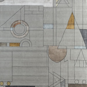 Rug# 31184, Jaipur modern, ABC designer rug, 100% NZ wool and bamboo silk pile, size 250x170 cmESK-315Classic GrayNatural Beige (1)
