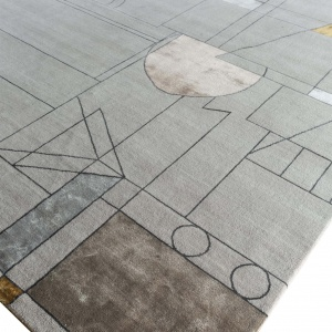 Rug# 31184, Jaipur modern, ABC designer rug, 100% NZ wool and bamboo silk pile, size 250x170 cmESK-315Classic GrayNatural Beige (4)