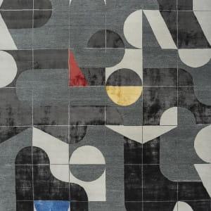 Rug# 31192, Jaipur modern, ABC designer rug, 100% NZ wool and bamboo silk pile, size 300x200 cm ESKN-1001WhiteNatural Slate (1)