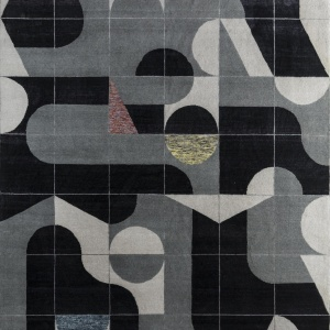 Rug# 31193, Jaipur modern, ABC designer rug, 100% NZ wool and bamboo silk pile, size 300x250 cm ESKN-1002IvoryNatural Slate (1)